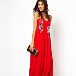 ASOS Little Mistress London Strapless Red Dress